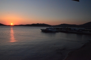 Sunset by the Aegean Sea (view from the restaurant where the Greece-Rome trip had dinner this evening