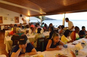 Dinner on the  shore of the Aegean Sea
