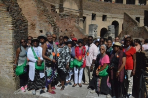 """following the footsteps of Paul"" - Bus #1 Group at the Roman Coliseium"