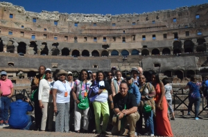 """following the footsteps of the Apostle Paul"" - Bus # 2 at the Roman Coliseum"