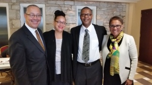 Plymouth UCC members, Cheryl and Emory Bell after worship at 1st Church UCC, Atlanta, GA with Judge and Rev. Dr. Nicholas Hood III