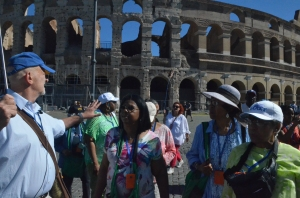 Outside the Roman Coliseum with the Plymouth United church of Christ Travel Ministry