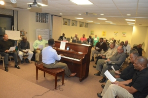 The Male Chorus of the Plymouth United Church of Christ, Detroit in rehearsal