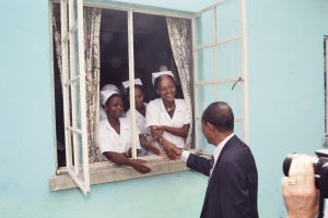 Nurses at the Maternal Child Hospital in Awassa, Ethiopia greeting Dr. Ingida Asfaw, founder of the Ethiopian North American Health Professions Assoication