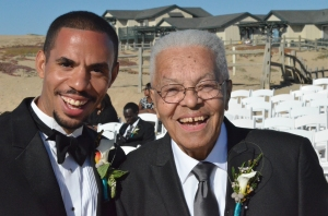 My father, Rev. Dr. Nicholas Hood Sr. (right) at the wedding of my son, Nathan in 2013